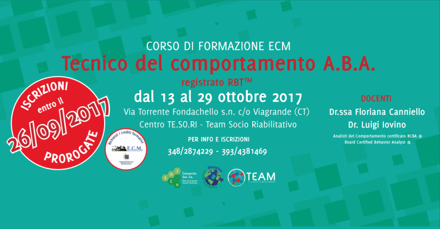 """Tecnico del comportamento A.B.A. (Applied Behaviour Analysis)  - Corso di Formazione"